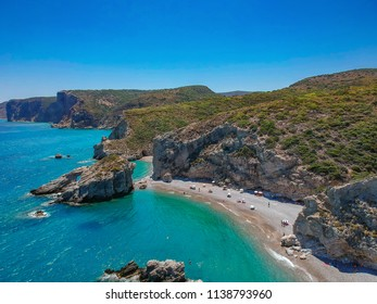 Aerial panoramic view of the famous rocky beach Kaladi. Amazing scenery with crystal clear water and the and the rock formation in Kythira island during Summer period. Ionian, Greece, Europe.