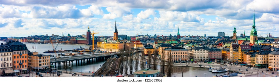 Aerial panoramic view of Gamla Stan, Norrmalm and Kungsholmen from Katarina-Sofia, Stockholm, Sweden, Europe