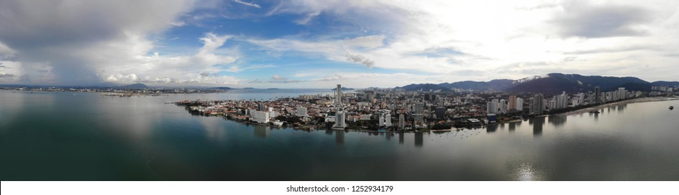 Aerial panoramic view Georgetown City, Penang. Georgetown is capital city for Penang State and second biggest city for Malaysia.