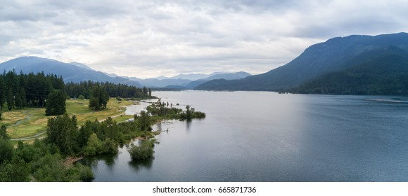Aerial panoramic view of a Golf Course in Harrison Mills, British Columbia, Canada.