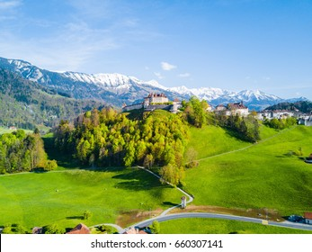 Aerial Panoramic View of Gruyere Castle in Sunny Summer Day, Switzerland