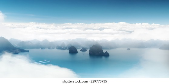 Aerial panoramic view of Halong Bay coast near Hanoi, Vietnam. Scenic landscape of popular tourist travel destination in Asia