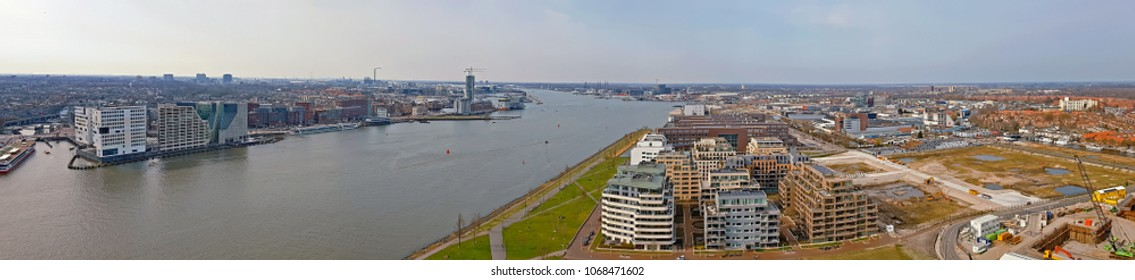 Aerial panoramic view from the harbor in Amsterdam Netherlands
