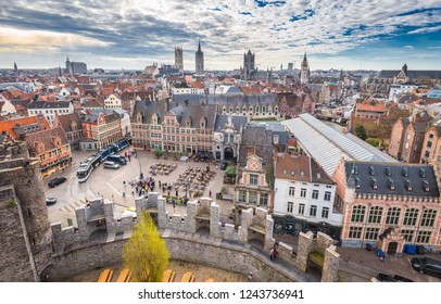 Aerial panoramic view of the historic city of Ghent with famous medieval Gravensteen Castle on a beautiful sunny day with blue sky and clouds in summer, province of East Flanders, Belgium