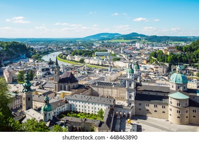 Aerial panoramic view of the historic city of Salzburg with Salz