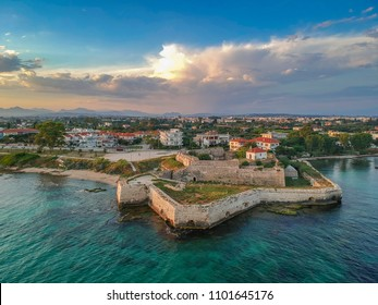 Aerial panoramic view of the historical castle of Pantokrator. Its one of the 3 castles in Preveza city located at the south end of the old city, near the beach of Kyani Akti. Preveza, Epirus, Greece