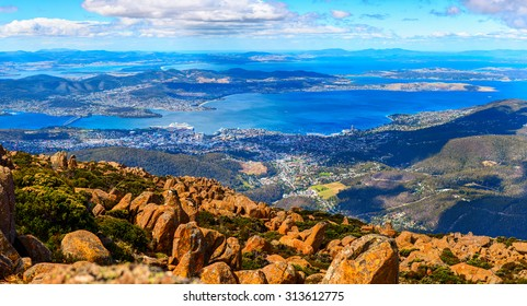 Aerial panoramic view of Hobart City and its vicinity from the Mount Wellington peak. Tasmanian Island, Australia.