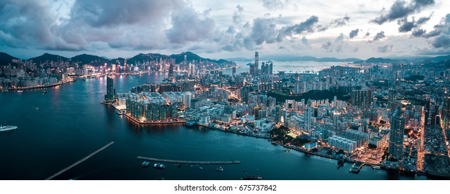 Aerial panoramic view of Hong Kong Island and Kowloon