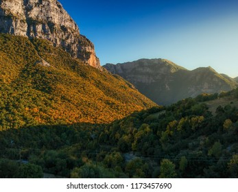 Aerial panoramic view of the impressive Vikos gorge in the Zagoria region at Pindus Mountains of northern Greece. It lies on the southern slopes of Mount Tymfi and it is the the deepest in Europe.