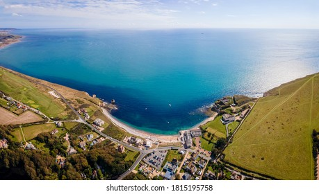 Aerial panoramic view of Isle of WIght, UK