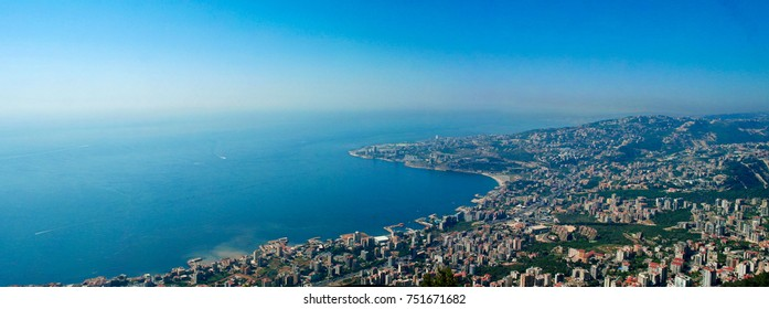 Aerial panoramic view to Jounieh city and bay from Harissa mountain, Lebanon