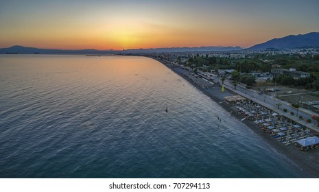 Aerial panoramic view of kalamata city. Kalamata is one of the most popular tourist destinations for Summer holidays in southern Europe. Messenia Peloponnese, Greece