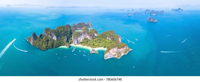 Aerial panoramic view of Ko Hong island touristic tropical destination near Krabi, Thailand. Panorama of beautiful archipelago in turquoise water