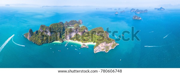 Aerial panoramic view of Ko Hong island touristic tropical destination near Krabi, Thailand. Panorama of beautiful archipelago in turquoise water