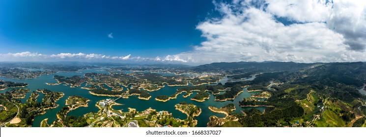 Aerial Panoramic view landscape of the lake of Guatape from Rock of Guatape, Piedra Del Penol, Colombia.