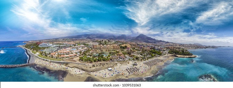 Aerial panoramic view of Las Americas Beach in Tenerife, Spain.