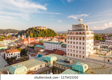 Aerial panoramic view of Ljubljana, capital of Slovenia at sunset.