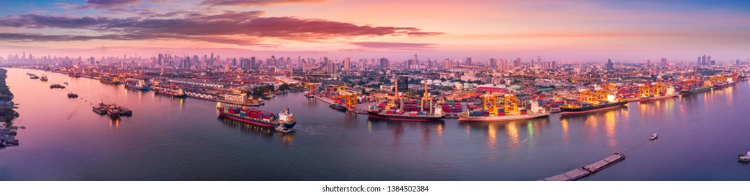 Aerial panoramic view of Logistics and transportation of Container Cargo ship and Cargo plane with working crane bridge in shipyard at sunrise, logistic import export and transport industry background