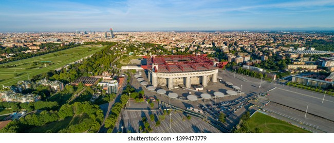 Aerial panoramic view of Milan (Italy) cityscape with the soccer stadium,  known as San Siro Stadium