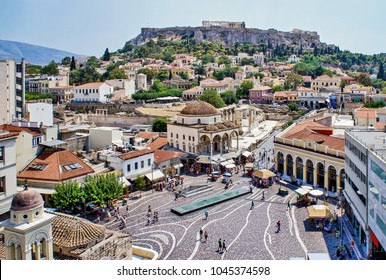 Aerial panoramic view of Monastiraki square and the Acropolis in Athens, Greece.