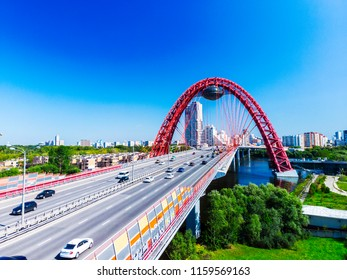Aerial panoramic view of Moscow with a modern cable-stayed bridge, Russia. Architecture landmark of Moscow. Beautiful scenic panorama of Moscow with Moskva River. Moscow skyline in summer.