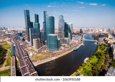 Aerial panoramic view of Moscow in summer, Russia. Moscow skyline. Panorama of the city with Moskva River. Scenery of Moscow on a sunny day. Modern skyscrapers in Moscow.