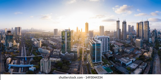 Aerial panoramic view of Mumbai's richest business district and skyscraper hub- Lower Parel. Various businesses, MNCs, corporates operate from here and it is a prominent skyscraper hub of Mumbai.