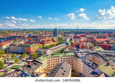 aerial panoramic view of Munich city in Bavaria