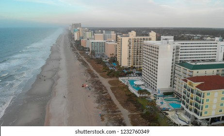 Aerial panoramic view of Myrtle Beach skyline and coastlline at sunset, South Carolina.