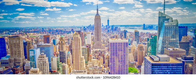 Aerial panoramic view of the New York City skyline from Midtown Manhattan, USA