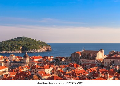 Aerial panoramic view of old town of Dubrovnik with Lokrum Island and Dalmatian Coast of Adriatic Sea in background, Croatia.