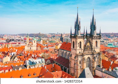 Aerial Panoramic View of Old Town of Prague, Czech Republic, Tyn Church, Clock Tower, Square
