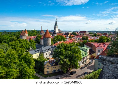 Aerial panoramic view of the Old Town section of Tallinn, Estonia