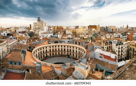 Aerial panoramic view of the old town in Valencia from Santa Caterina tower, Spain