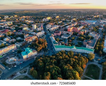Aerial panoramic view on central park in Poltava city, Ukraine. Sunset, low light image.