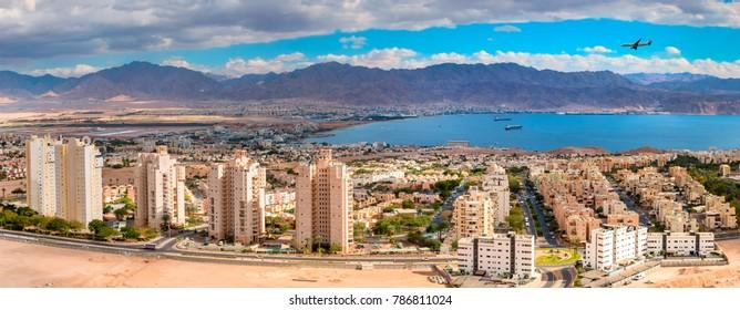 Aerial panoramic view on Eilat (Israel) and Aqaba (Jordan)