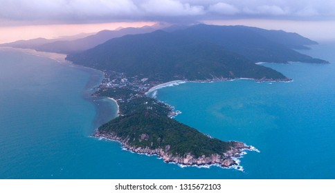 Aerial :  panoramic view on the Haad Rin area in sunset color,  andscape of beautiful tropical island koh Phangan,Thailand