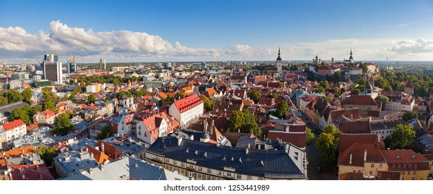 Aerial panoramic view on the old town Tallinb, Estonia. Sunny summer day.