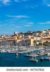 Aerial panoramic view on old port  in Marseille, France