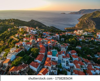 Aerial panoramic view over Chora the old Village of Alonnisos island, Sporades, Greece