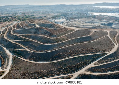 aerial panoramic view over the Maghtab Landfill in Naxxar (Malta)