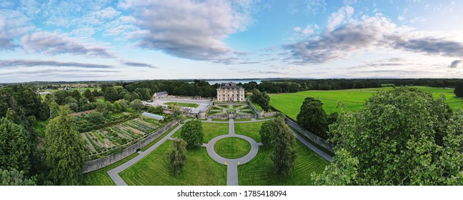 Aerial panoramic view over Portumna Castle and Gardens. A magnificent location on the shores of Lough Derg on the River Shannon. Portumna, County Galway, Ireland.