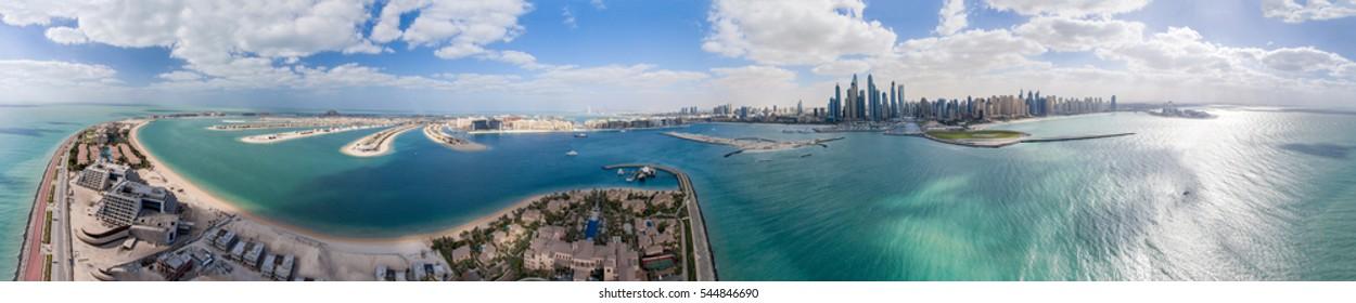 Aerial panoramic view of Palm Jumeirah Island and Marina, Dubai.
