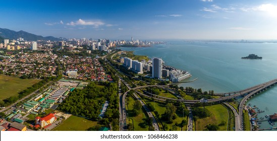 Aerial panoramic view of Penang Island from Penang 1st Bridge, Penang, Malaysia