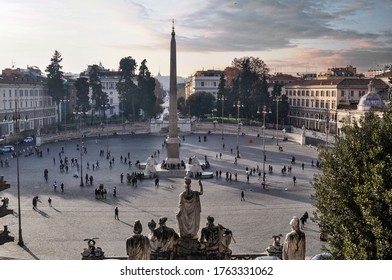 Aerial panoramic view of Piazza del Popolo. Rome, Italy