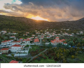 Aerial panoramic view of the picturesque mountainous village Kremasti, Laconia during winter. The village is located in southern Greece in the Parnon mountain range, Peloponnese, Greece