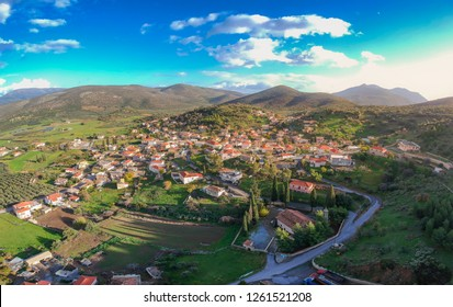 Aerial panoramic view of the picturesque mountainous village of Apidia, Laconia during winter. The village is located in southeastern Greece in Laconia region part of Peloponnese, Greece