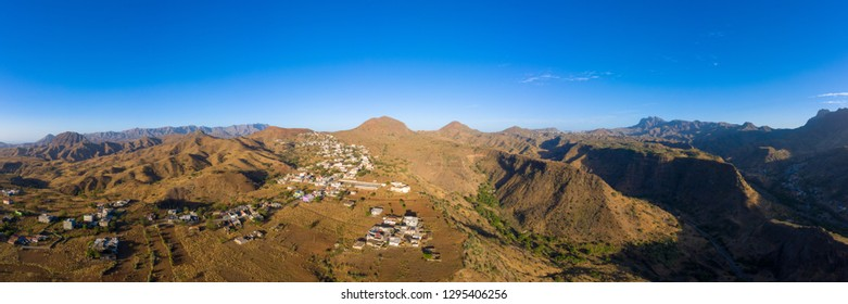Aerial Panoramic view of Rebeirao Manuel in Santiago island in Cape Verde - Cabo Verde