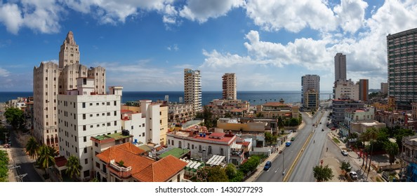 Aerial Panoramic view of the residential neighborhood in the Havana City, Capital of Cuba, during a bright and sunny day.