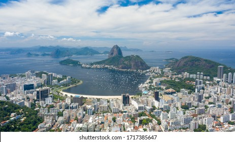 Aerial panoramic view of Rio de Janeiro city - landscape panorama of Brazil from above, South America